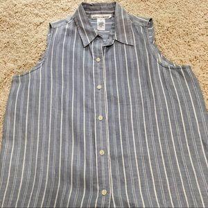 Jones New York Striped Linen  Top